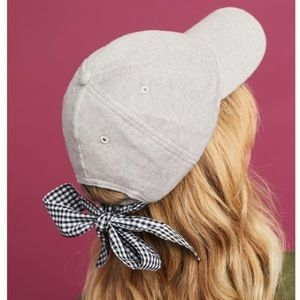 Anthropologie Grey Baseball Cap with Gingham Bow